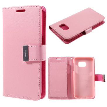 Samsung Galaxy S7 Kotelo Rich Diary Vaaleanpunainen
