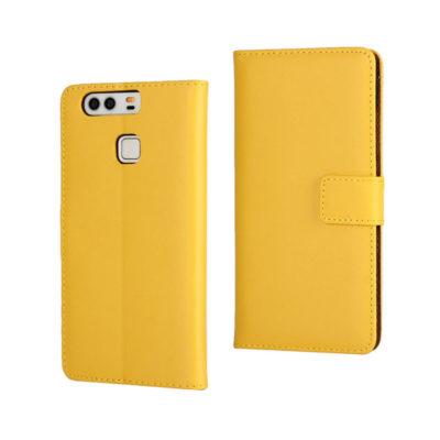 Huawei P9 Suojakotelo Keltainen Nahka