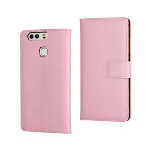 Huawei P9 Suojakotelo Vaaleanpunainen Nahka
