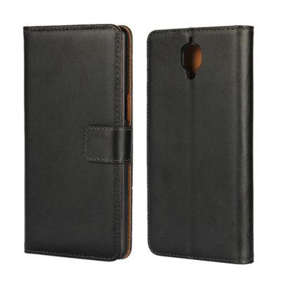 OnePlus 3 / 3T Lompakkokotelo Musta Nahka
