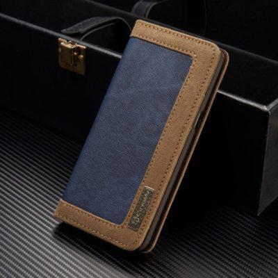Samsung Galaxy S8+ Kotelo Caseme Kangas Sininen