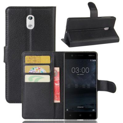 Nokia 3 Lompakkokotelo Suoja Musta