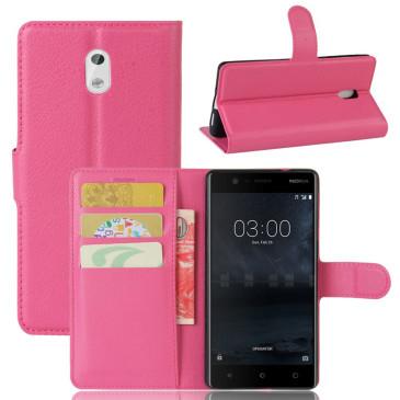 Nokia 3 Lompakkokotelo Suoja Pinkki
