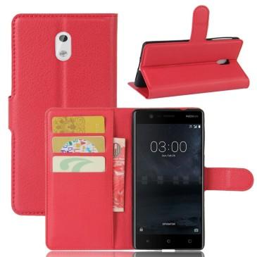 Nokia 3 Lompakkokotelo Suoja Punainen