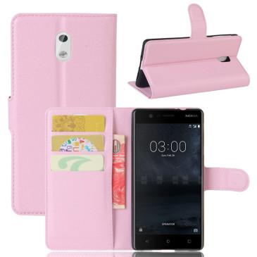 Nokia 3 Lompakkokotelo Suoja Vaaleanpunainen