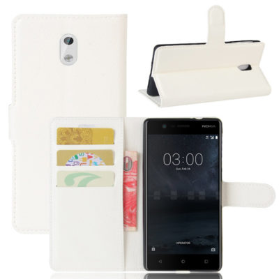 Nokia 3 Lompakkokotelo Suoja Valkoinen