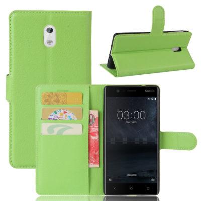 Nokia 3 Lompakkokotelo Suoja Vihreä