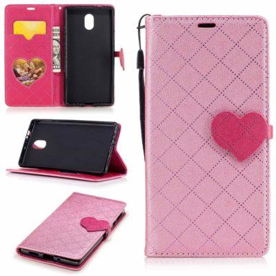 Nokia 3 Sydän Lompakkokotelo Vaaleanpunainen