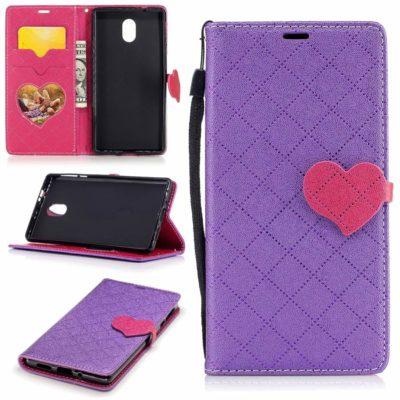 Nokia 3 Sydän Lompakkokotelo Violetti