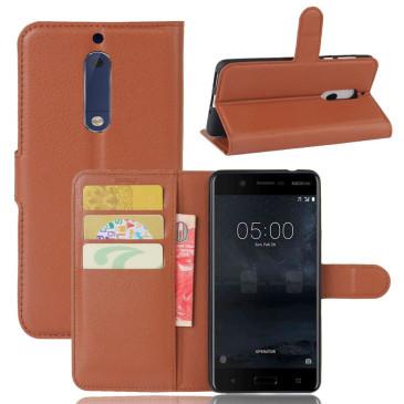 Nokia 5 Suojakotelo Ruskea Lompakko