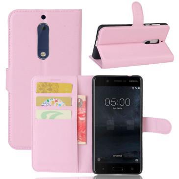 Nokia 5 Suojakotelo Vaaleanpunainen Lompakko