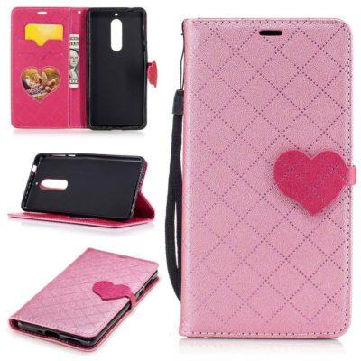 Nokia 5 Sydän Lompakko Suojakotelo Vaaleanpunainen