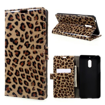 Nokia 6 Lompakko Suojakotelo Leopardi