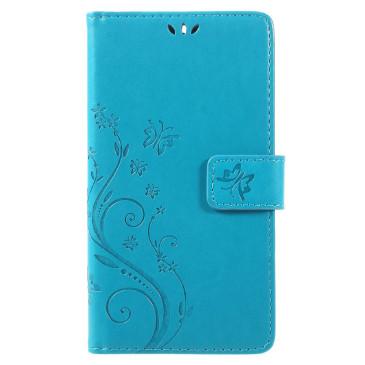 Nokia 6 Lompakkokotelo Kukka Sininen