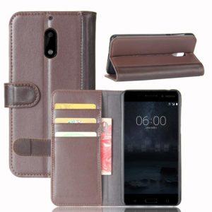 Nokia 6 Nahkakotelo Kahvinvärinen Lompakko