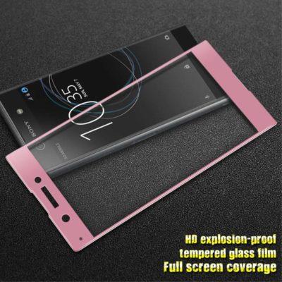 Sony Xperia XA1 Täysin Peittävä Suojalasi Vaaleanpunainen