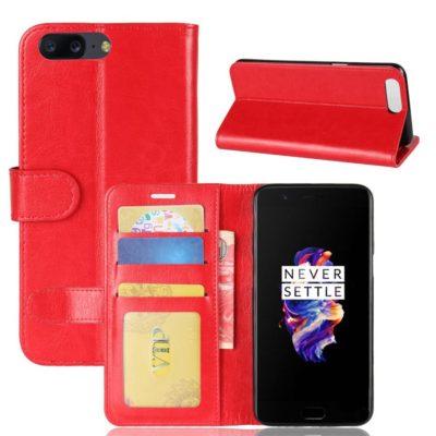 OnePlus 5 Lompakko Suojakotelo Punainen