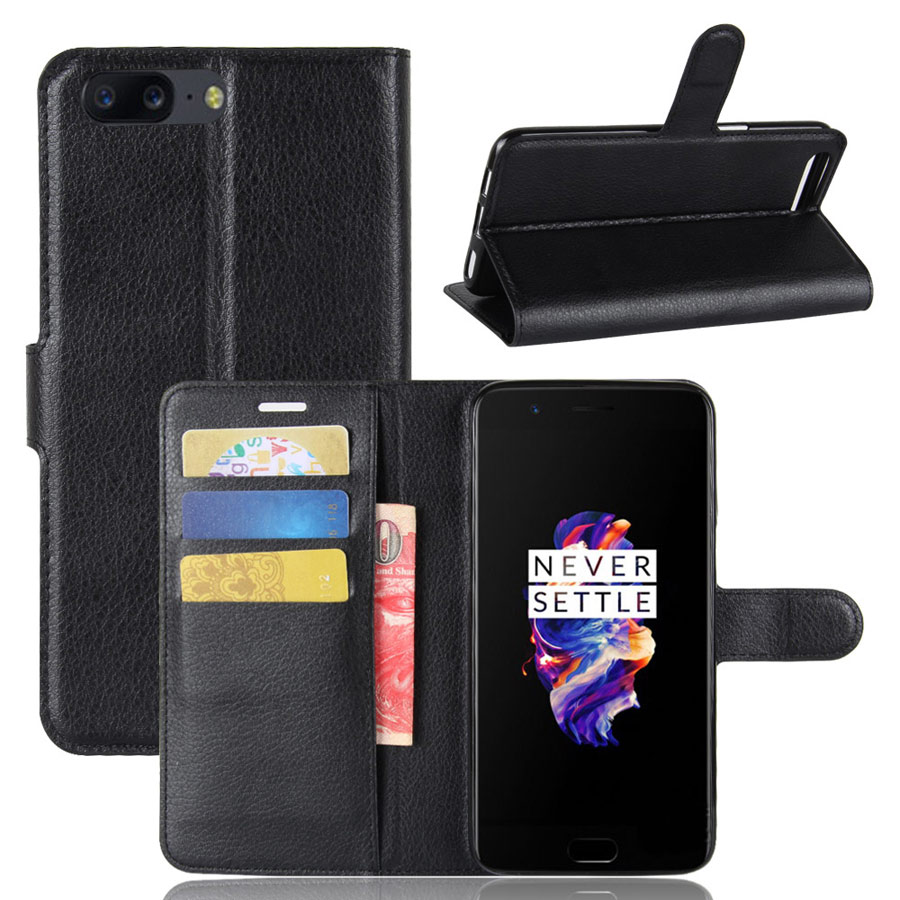 OnePlus 5 Suojakotelo Musta Lompakko