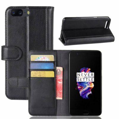 OnePlus 5 Suojakotelo Musta Nahka