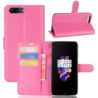 OnePlus 5 Suojakotelo Pinkki Lompakko