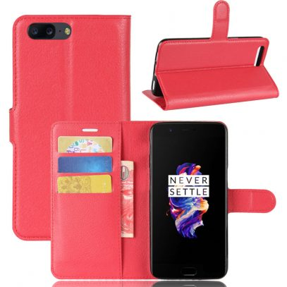 OnePlus 5 Suojakotelo Punainen Lompakko