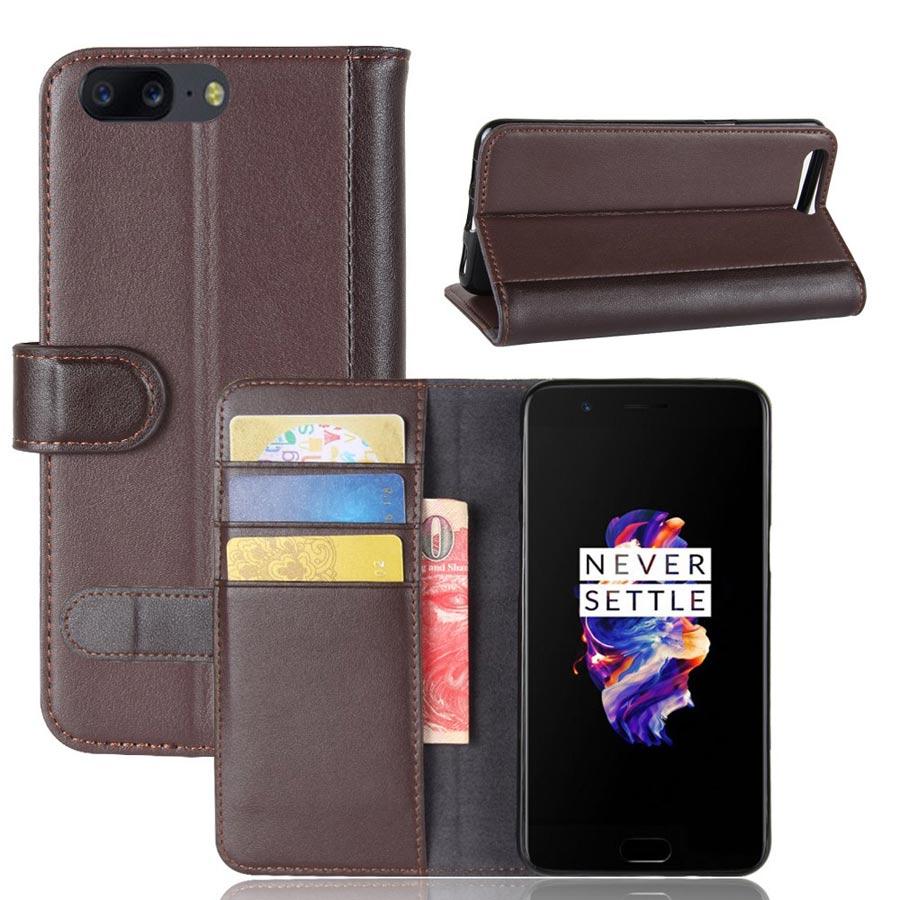 OnePlus 5 Suojakotelo Ruskea Nahka
