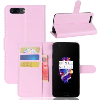 OnePlus 5 Suojakotelo Vaaleanpunainen Lompakko