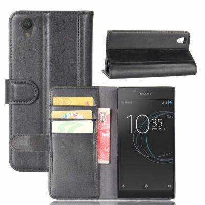 Sony Xperia L1 Lompakkokotelo Musta Nahka