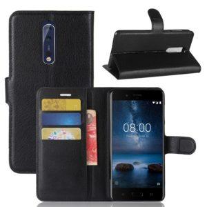Nokia 8 Lompakkokotelo Pu-Nahka Musta