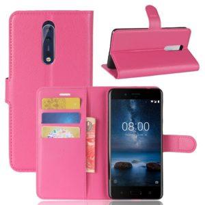 Nokia 8 Lompakkokotelo Pu-Nahka Pinkki