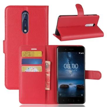 Nokia 8 Lompakkokotelo Pu-Nahka Punainen