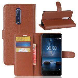 Nokia 8 Lompakkokotelo Pu-Nahka Ruskea