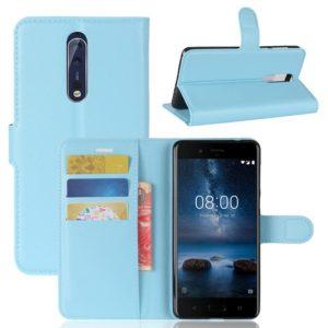 Nokia 8 Lompakkokotelo Pu-Nahka Sininen