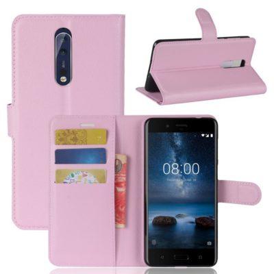 Nokia 8 Lompakkokotelo Pu-Nahka Vaaleanpunainen