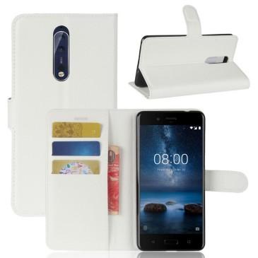 Nokia 8 Lompakkokotelo Pu-Nahka Valkoinen