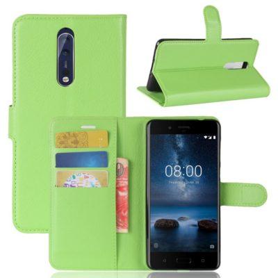 Nokia 8 Lompakkokotelo Pu-Nahka Vihreä