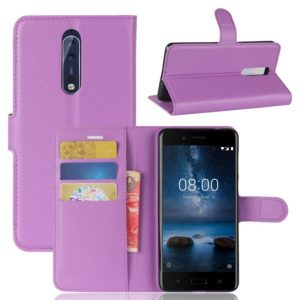 Nokia 8 Lompakkokotelo Pu-Nahka Violetti
