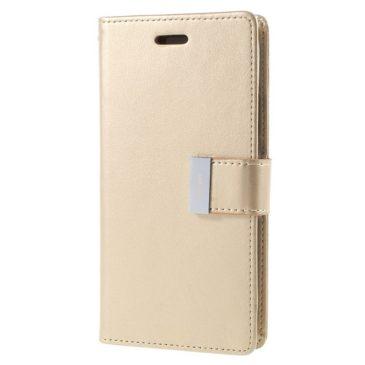 Apple iPhone X Rich Diary Lompakkokotelo Kulta