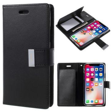 Apple iPhone X Rich Diary Lompakkokotelo Musta