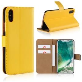 Apple iPhone X Suojakotelo Nahka Keltainen
