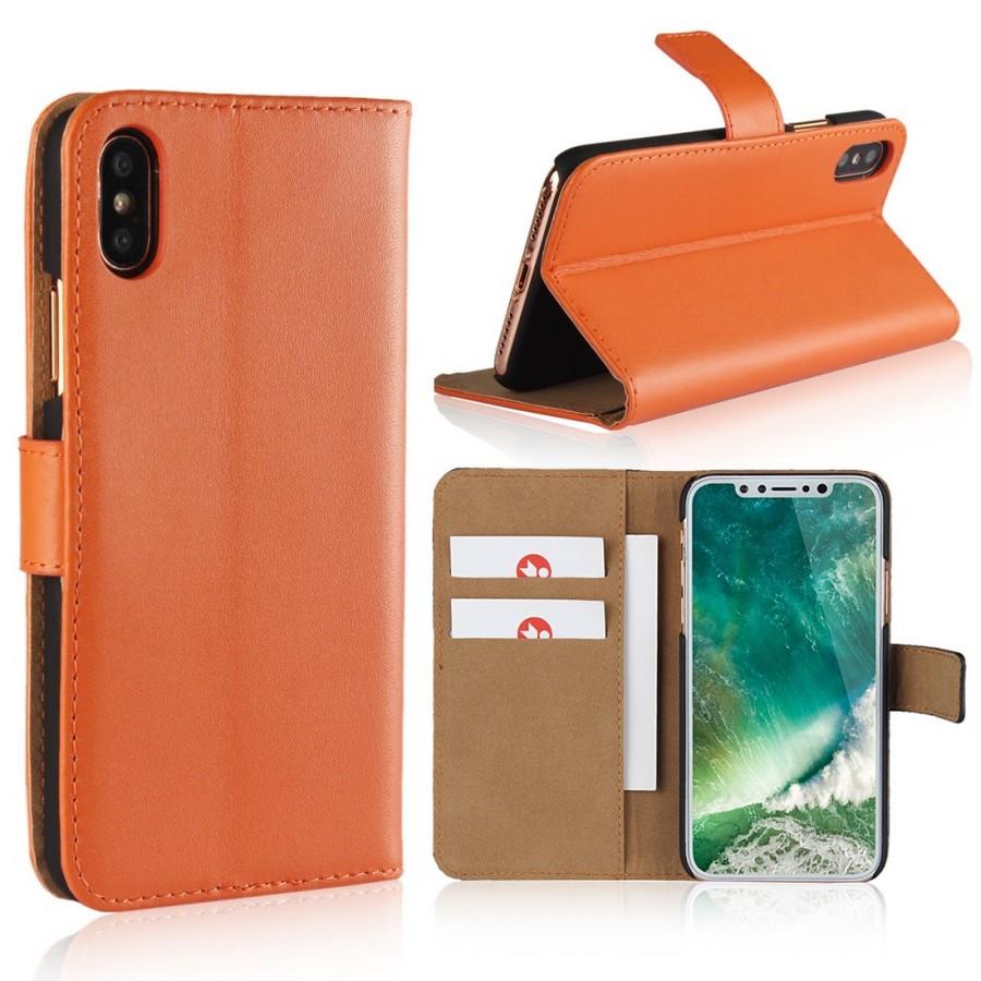 Apple iPhone X Suojakotelo Nahka Oranssi