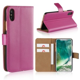 Apple iPhone X Suojakotelo Nahka Pinkki