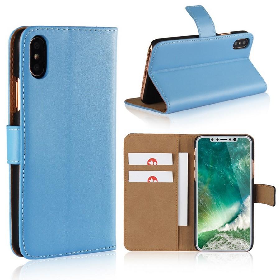 Apple iPhone X Suojakotelo Nahka Sininen