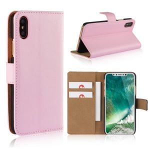 Apple iPhone X Suojakotelo Nahka Vaaleanpunainen