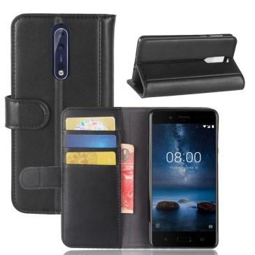 Nokia 8 Nahkakotelo Musta Lompakko
