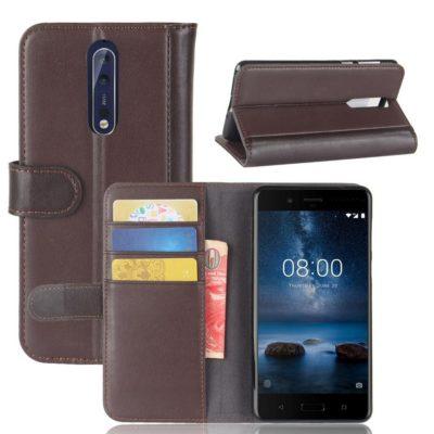 Nokia 8 Nahkakotelo Ruskea Lompakko