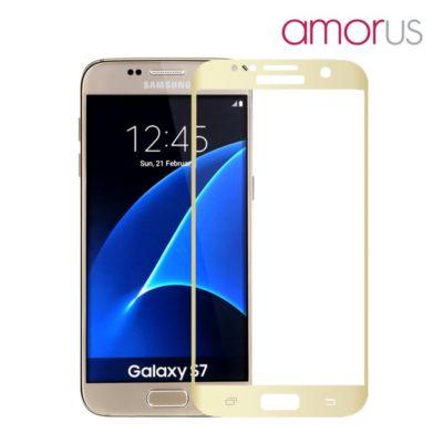 Samsung Galaxy S7 Täysin Peittävä Suojalasi Kulta Amorus
