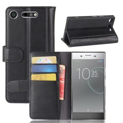Sony Xperia XZ1 Suojakotelo Musta Nahka