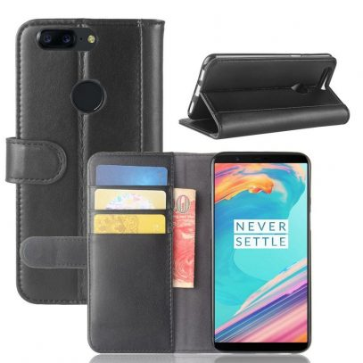 OnePlus 5T Lompakkokotelo Musta Nahka