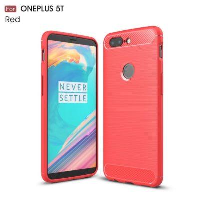 OnePlus 5T Suojakuori Hiilikuitu Punainen